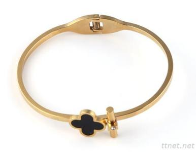 3Mm Womens Gold IP Stainless Steel Four Leaves Clover Cuff Bangle Bracelet