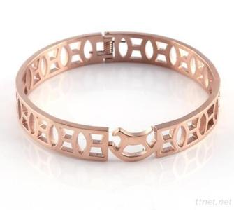 Shinny And Bright Polished Rose Gold Bangle Charm Cuff Bangle Great For Birthday Gift