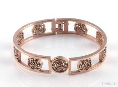 Hollowed Jewelry Charm Cuff Bangles Rose Gold Coated Bangle Bracelet