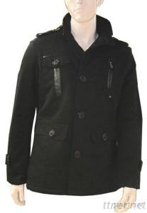 Stand Collar Casual Cotton Men Jacket, Single Breasted Button Winter Outwear Fashion Jacket