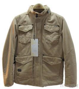 Stand Collar Pure Cotton Winter Men Jacket, Color Black And Khaki