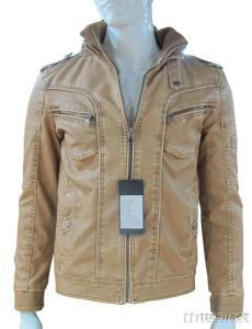 Fashion Quality Washable Pu Leather Jacket, Men Outwear With Hat