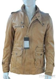 Zipper Up Fly Stand Collar Men PU Leather Jacket, Wholesale Men Winter Leather Jacket