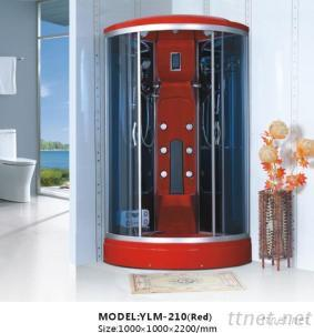 Red ABS Materials And Blue Glass Shower Room