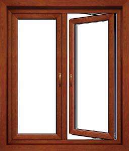 Thermal Break Double Glazed Wood Grain Aluminum Alloy Casement Window For Commercial And Residential
