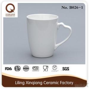 12Oz White Porcelain Heart Handle Coffee Mugs