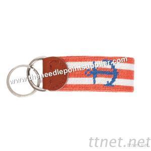 Striped Anchor Needlepoint Key Fob, Needlepoint Key Chain, Leather Key Chain