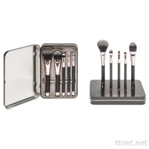 8307  5-pc make up brush set w/ metal box