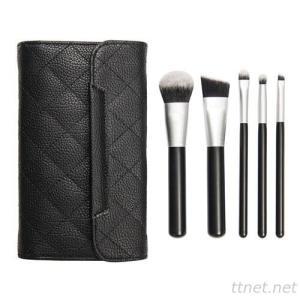 PF0224  5-pc make up brush set w/cosmetic bag