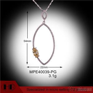 Wholesale Micro Pave 925 Sterling Silver  Pendant And Necklace Clear Rhodium 925 Sterling Silver  Pendant And Necklace