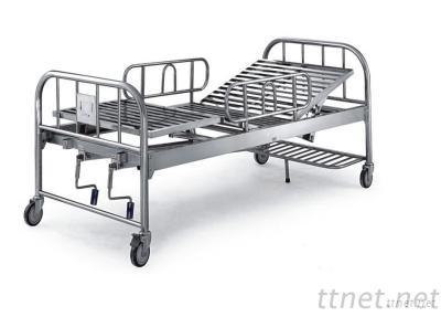 Stainless Steel Double Manual Crank Care Hospital Bed