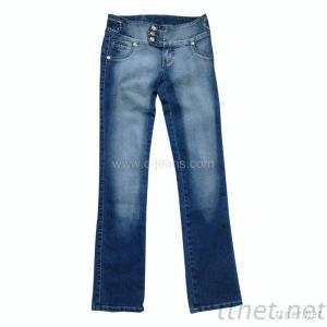 Lady's Straight Jeans. Women's Long Pants Print Jeans