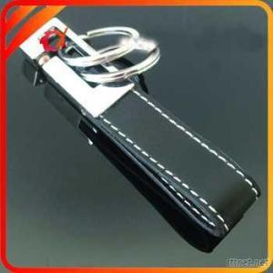 Double Rings Zinc Alloy Leather Key Chain