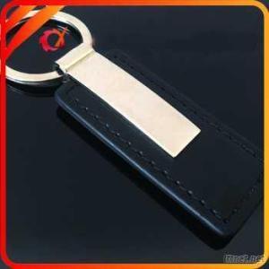 Rectangle Shaped Leather Keyring With Laser Engraving Logo