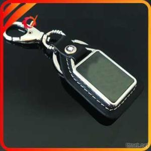 High-End Genuine Leather Key Fob With Metal Badge