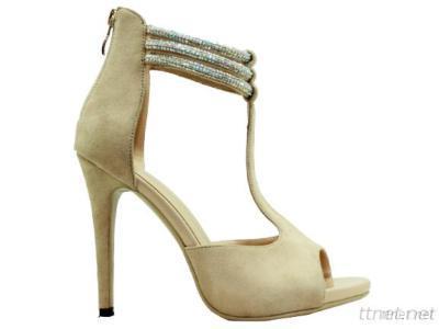 Ladies Dimond Ankle Strap Peep Toe Nude Heel Sandals