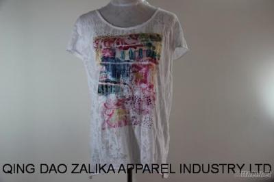 Lady Fashion Burnout R-Neck T Shirt