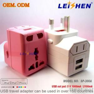USB Power Universal Travel Adapter With Dual USB Charger