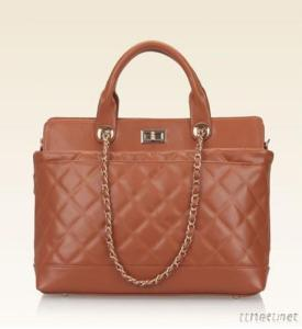 Real Leather Coffe Quilted Diamond Tote Handbags