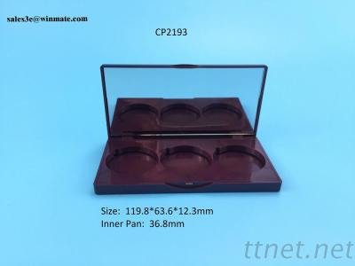 Three Colors Eyeshadow Case With Mirror, Customized Eyeshadow Container