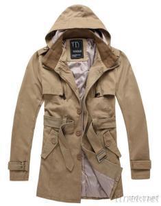 Men's Stylish Windbreak Hooded Cotton Long Jacket Coats