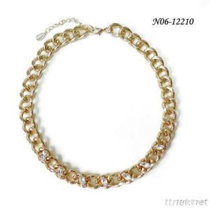 2014 Fashion Jewelry Gold Plated Elliptical Crystal Chain Necklace