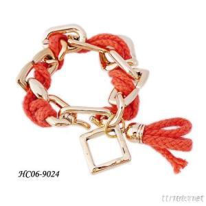 Customized Production Wholesale Price Cotton Thread And Alloy Bracelet