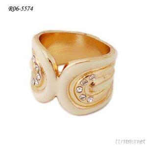 White Painted Alloy Ring, Decorated With Crystal, Shape Like Wings Closed, OEM Orders Accepted