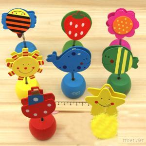 Wooden Cartoon Desktop Nota Memo Clip Pencil Sharpener