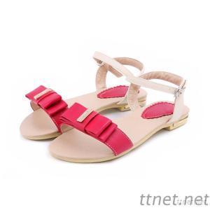 Korean Sandal, Sandal, Sweet Bow Spell Color Female Flat Sandals
