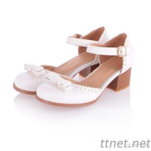 Retro Big Thick Heel Sandals Shoes Skirt With Solid Color Zipper Tape