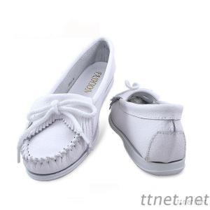 Flat-Heeled Slip-Ons, Flat-Heeled, Spring New Calf Comfortable Shoes Shallow Mouth Round Tassel Shoes