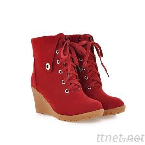 2013 New Women'S Autumn And Winter Women'S Boots Lace Slope With Frosted Round Shoes