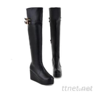 2013 Patent Leather Knight Boots Tall Plastic Bottom With Warm Slope With The Slope With Waterproof Taiwan Female Buckle Boots