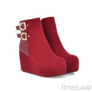 2013 Sexy Women'S Boots Martin Boots Boots In Plastic Bottom Slope With Round Buckle With Matte Slope With Boots