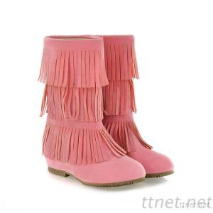 2013 Women In Tube Fringed Flat With Flat Tip Sleeve Solid Color Women Tassel Flat Boots