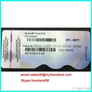 Windows 7 Home Prem OEM COA Labe Key Cardl (X16)DELL, HP, Lenovo