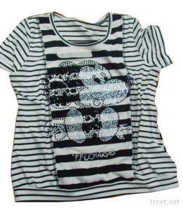 Ladies Stripe Cotton T-Shirts