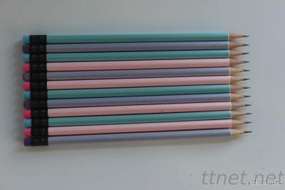 HB pencils with flourescent paint and color eraser