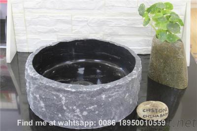 Black Limestone Bathroom Round Wash Basin Stone Bath Sinks