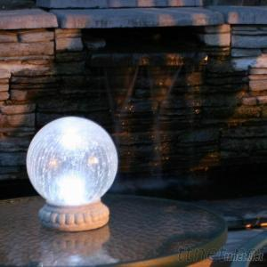 Outdoor Solar Color Changing Glass Gazing Ball Table Light