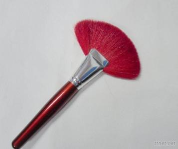 Red Professional Fan Shaped Makeup Brush