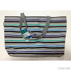 Beach Tote Bag With Stripe
