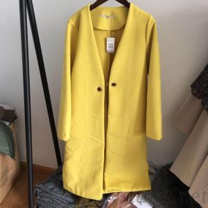 Women'S Woolen Coat Yellow