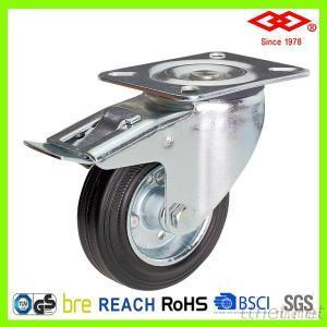 150mm Black Rubber Swivel Locking Industrial Castor Wheel Caster