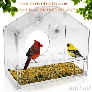 Acrylic Window Bird Feeder With Sliding Feed Tray And Suction Cups