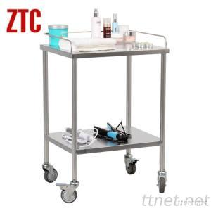 Hotel Service Food Cart, Stainless Steel Double Layers Household Trolley