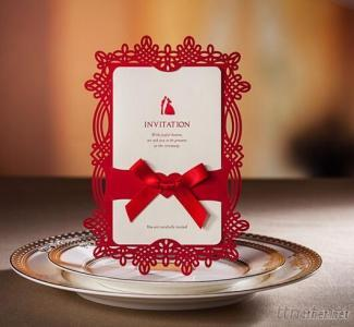 Chinese Style Laser Cut Wedding Invitations With Ribbon