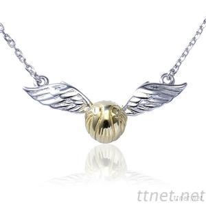 925 Sterling Silver Hallow Wing Snitch Charm Pendant Necklace Gold Plating