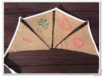 Hessian Wedding Bunting Flags I DO And Rose